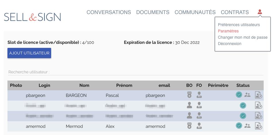 Signature électronique SELL&SIGN gestion des utilisateurs