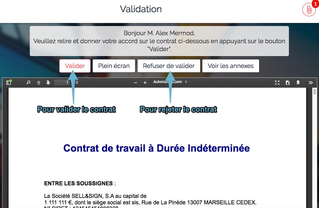 signature électronique workflow approuver rejeter validation