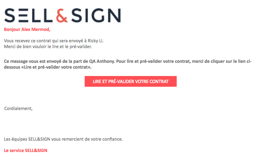 mail workflow validation contrat signature électronique
