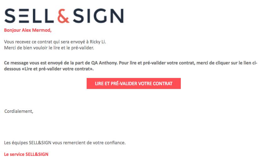 mail workflow validation contrat signature électronique